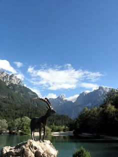Lake Jasna at Kranjska gora with Alps in the background.