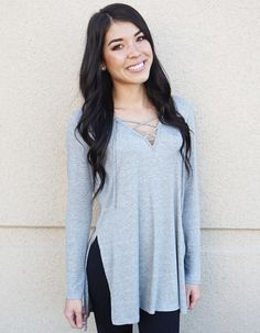Lace Up Tunic Top