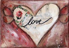 Art Print. Mixed Media Painting. Inspirational Art. Mixed Media Art. Pour on Love.