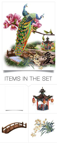 """Area Chinese garden"" by m-kints ❤ liked on Polyvore featuring art and peacock"