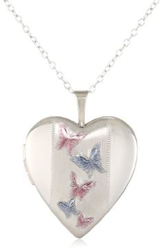 Momento Lockets Sterling Silver Heart Shaped Locket with Butterfly Necklace