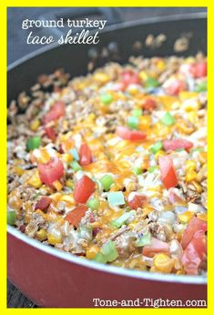 class=short_underline> Print </em> Ground Turkey Taco Skillet Recipe type: Main Dish Prep time: 15 mins Cook time: 10 mins Total time: 25 mins Serves: 5 A healthy dinner your whole fa. Healthy Dinner Recipes, Mexican Food Recipes, Cooking Recipes, Healthy Menu, Lunch Recipes, Healthy Dinner Sides, Healthy One Pot Meals, Cooking Corn, Healthy Tacos
