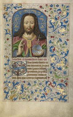 Arenberg Hours; Willem Vrelant and workshop (Flemish, died 1481, active 1454 - 1481); Bruges, Belgium; early 1460s. Tempera colors, gold leaf, and ink on parchment bound between wood boards covered with purple velvet. | This lavish book of hours contains over eighty miniatures, and the texts included in the book indicate that the wealthy patron was almost certainly English.