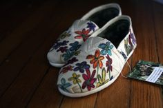 And even customized.  This are super cute!    http://www.etsy.com/listing/61963681/custom-toms-shoes-wildflowers-all-over?ref=sc_1
