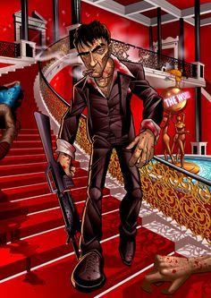 Tony Montana (Al Pacino) - Scarface Art by Patrick Brown Scarface Poster, Scarface Movie, Scarface Quotes, Dope Cartoon Art, Dope Cartoons, Cartoon Smoke, Arte Hip Hop, Hip Hop Art, Arte Dope