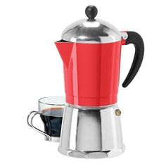6 Cup Cast Aluminum Stovetop Espresso Maker 355 Oz Red by Oggi >>> More info could be found at the image url. Cappuccino Maker, Cappuccino Machine, Espresso Maker, Espresso Coffee, Coffee Cups, Coffee Maker, Nespresso Machine, Italian Espresso, Best Espresso Machine