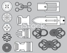 Production Flats: Fashion Closures Royalty Free Stock Vector Art Illustration
