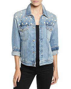 29ded8f0d9c 7 for all mankind Designer Pearl-Embellished Boyfriend Trucker Denim Jacket  Cotton Spandex