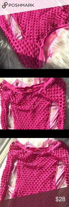 Forever 21 Cutest Hot Pink Mesh Top💕 Super Cute💕Fitted Stretch Mesh💕Long Sleeves💕Cute with contrasting sports bra💕Also sold with tie dye pink stretch liner top for free💕They were purchased separately but perfect together💕💕Light signs of wear not noticeable Forever 21 Tops Blouses