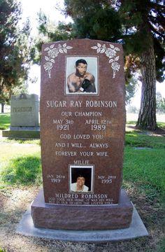 Gravestone of Sugar Ray Robinson who's a famous boxer - A híres amerikai bokszoló, Sugar Ray Robinson és felesége közös sírköve
