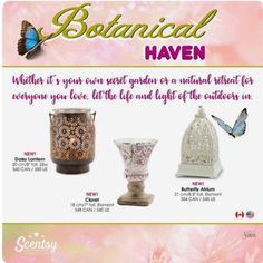Scentsy's Daisy Lantern, Claret and Butterfly Atrium warmers bring the outside indoors. Find me on Facebook, Andrea Swango - Independent Scentsy Consultant - Wax Boss Babe and shop at: https://andreaswango.scentsy.us
