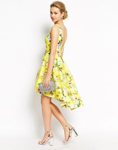 Image 1 of Chi Chi London Full Prom High Low Skater Dress In Floral Print