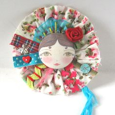 Mixed Media Fabric Brooch Doll brooch with by zouzoudesign,