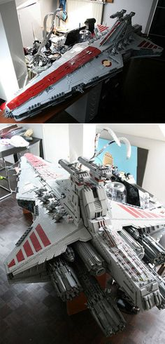 This is a massive 35,000 piece, 8 foot model of a Venerator Class Star Destroyer created by Iomdedes.