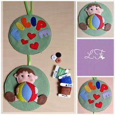 Porta maternidade com tema de menino, feito em feltro, artesanato