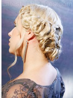 A braided hairstyle for the winter formal dance