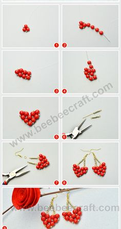 Tips on how to make a heart sipped with Seed Bead Crafts, Seed Bead Jewelry, Bead Jewellery, Handmade Wire Jewelry, Diy Crafts Jewelry, Diy Christmas Earrings, Antique Jewellery Designs, Valentines Jewelry, Beaded Jewelry Patterns