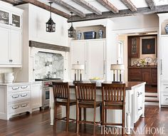 Pastel Palette in an Historic Home   Traditional Home Fabulous kitchen in a 1930's Federal style home.