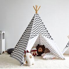 Tente indienne tissu rose et noir zigzag | Tipi enfant by ...