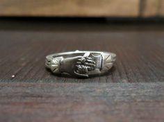 Art Deco Fede Gimmel Clasped Hands Ring Sterling size 5.5 c. 1920 -- Bavier-Brook.com