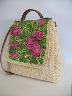 Купить вязаная сумка - портфель - белый, однотонный, женская сумка, вязаная…