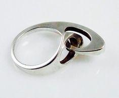 "Niels Erik From (DK), modernist sterling silver ""lock"" ring, 1960s. #denmark #etsy | finlandjewelry.com"