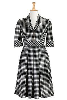 I <3 this Black and white plaid shirtdress from eShakti
