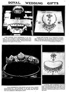 Some of the wedding gifts received by the Duchess of York (later Queen Elizabeth the Queen Mother) in 1923.