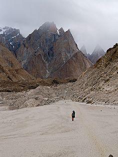 trekking between Concordia and K2 basecamps, Karakoram Range, Pakistan