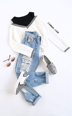 Shop Black Varsity Striped Contrast Open Shoulder Sweatshirt at ROMWE, discover more fashion styles online. Teenage Outfits, Teen Fashion Outfits, College Outfits, Outfits For Teens, Crop Top Outfits, Cute Casual Outfits, Stylish Outfits, Mode Hip Hop, Birthday Outfit