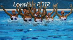 Team GB Synchronised Swimming team practises at the Aquatics Centre