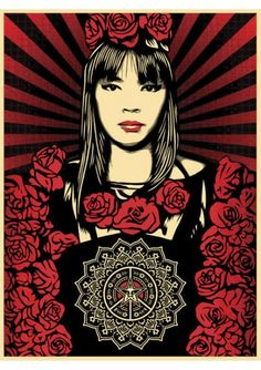 #shepardfairey #obey #sergeantpaper #artstore Rose Girl 2008 #Serigraphie 3 couleurs sur papier Edition limitée à 450ex 46x61cm   numerotée et signée