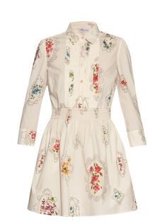 Smocked-detail floral-print dress | REDValentino | MATCHESFASHION.COM