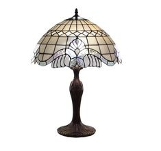 Lovely Tiffany Style Pearl White Baroque Table Lamp