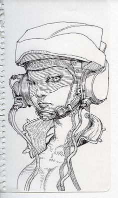 Like the use of lines and cyberpunk theme; could use in other illustration. Illustration Sketches, Drawing Sketches, Art Drawings, Art Illustrations, Character Illustration, Drawing Tips, Cartoon Drawings, Sketching, Character Sketches