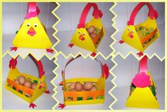 Easter egg basket craft idea for kids Easter Arts And Crafts, Easter Projects, Kids Crafts, Easter Egg Basket, Easter Bunny, Easter Eggs, Basket Crafts, Rooster Decor, Art N Craft