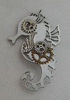 Steampunk Seahorse Brooch or Scarf Pin Wood Handmade Silver NEW Accessories…