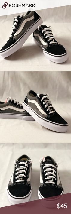 Vans Old Skool Black Pewter Kids Size 2.5 Vans Old Skool Low Top Skateboard  Shoes dc1d3dadf