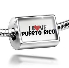 Sterling Silver Charm I Love Puerto Rico - Bead Fit All European Bracelets , Ne. Charm is made from solid 925 Sterling Silver. Fit Pandora and all European Charm Bead Bracelets. We have more then 60,000 different Beads and Charms. Hole size is approximately 4.8 to 5mm - Bead Size is 14mm x 9mm. I Love Puerto Rico.