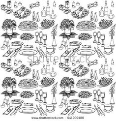 Set sketch for a celebratory meal at a restaurant, accommodation, food, meals, drinks, flowers, gifts, cutlery, seamless black in white background