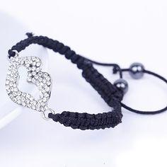 Silver Lip Black Nylon Crystal Hematite Bracelets Jewelry Gift