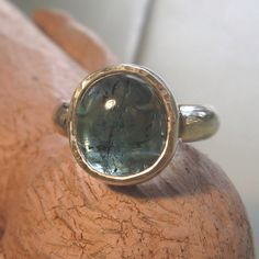 Large tourmaline cabochon sterling silver ring -Boiled Sweet