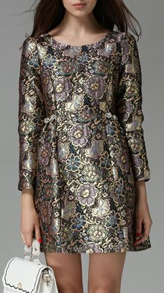 Gold Silver Long Sleeve Embroidered Flare Dress...pretty!!