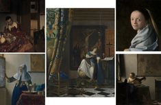 Images of five masterpiece paintings by Johannes Vermeer, all from The Met collection