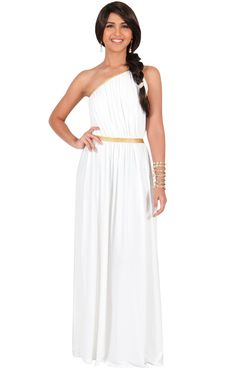 2f766058011 KOH KOH Womens One Shoulder Grecian Bridesmaid Cocktail Long Gown Prom Maxi  Dress XXXLarge White     You can find out more details at the link of the  image.