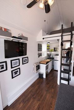 Tiny house kitchen with mezzanine loft bed. Tiny House Swoon, Tiny House Living, Tiny House Design, Tiny House On Wheels, Rv Living, Tiny House Movement, Tiny Spaces, Small Apartments, Studio Apartments
