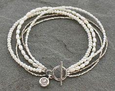 Multistrand Pearl Bracelet, Freshwater Pearl Multistrand Bracelet, Beaded White Pearls, Rustic Pearl Jewelry, Rustic Silver Toggle Bracelet