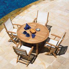 Outdoor Three Birds Riviera Teak Patio Dining Set - Seats up to 6 White - TB146-2