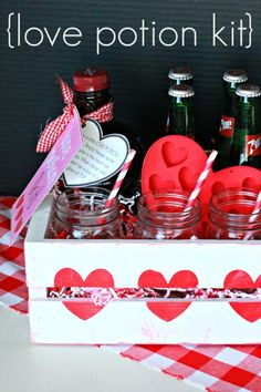 Adorable Love Potion Kit - so fun for Valentine's Day! Includes recipe for a drink and cute printable.