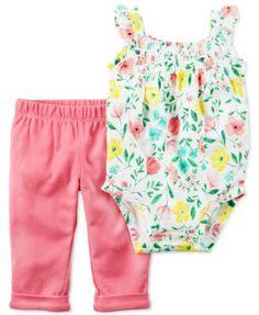Carter's 2-Pc. Floral-Print Bodysuit